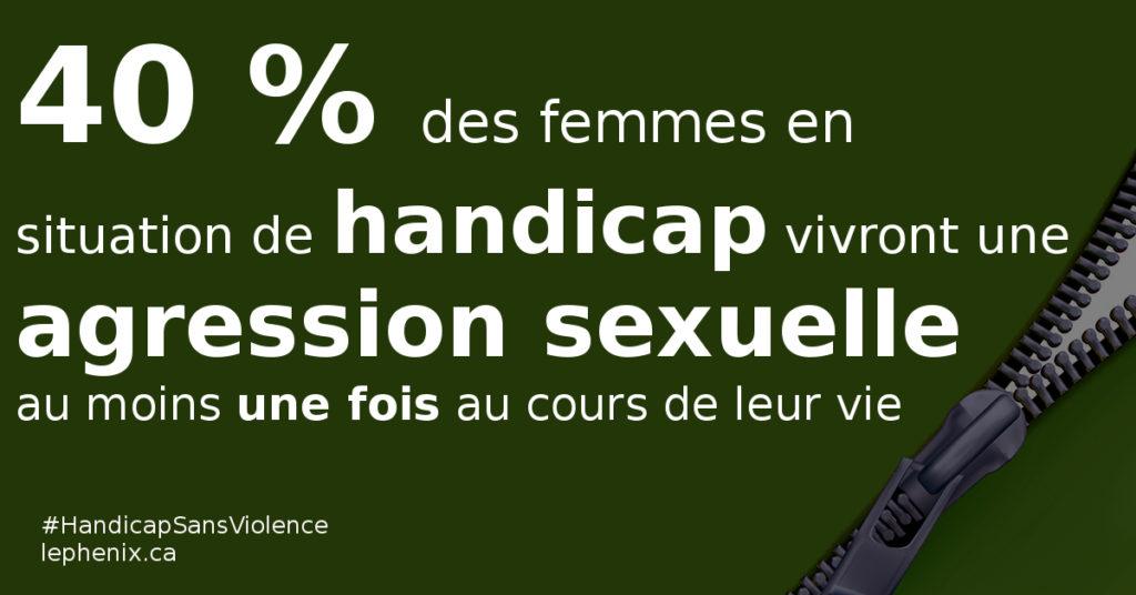 40% des femmes en situation de handicap vivront une agression sexuelle au moins une fois au cours de leur vie